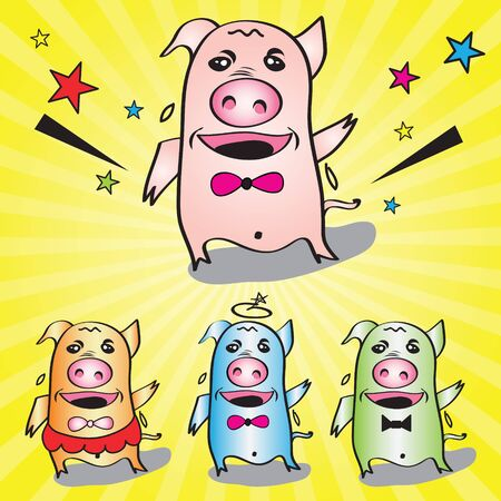 three little pigs: The three little pigs dancing very happy illustration