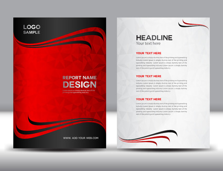 Rood Jaarverslag Vectorillustratie, omslagontwerp, brochureontwerp, sjabloonontwerp, grafisch ontwerp, vectorillustratie, rapportdekking, Abstracte achtergrond, veelhoekachtergrond, dekkingsmalplaatje Stockfoto - 50528249