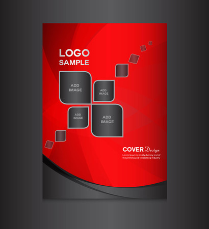 cover: red Cover design template, cover design, printing design, vector illustration, silver background , report cover,report template Illustration