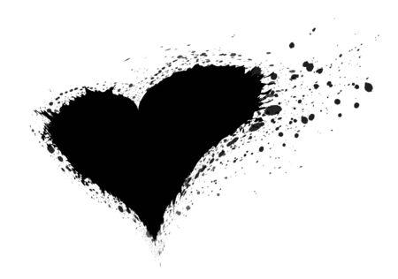 Ejemplo negro de la tinta del corazón del vector, ejemplo del vector, icono del vector, día de san valentín, corazón del amor