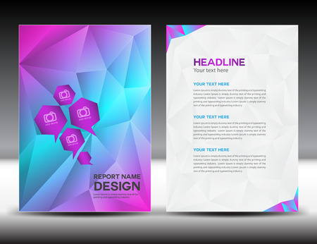 colorful Cover Annual report template,polygon background,brochure design,cover template,flyer design,portfolio,pink background, info-graphics,Front page and back page