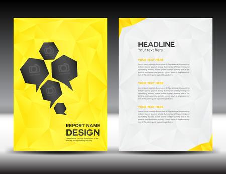 Geel Cover Jaarverslag template, veelhoek achtergrond, brochure design, dekking sjabloon, folders, portfolio, gele achtergrond, info-graphics, voorpagina en achterpagina Stockfoto - 51865283