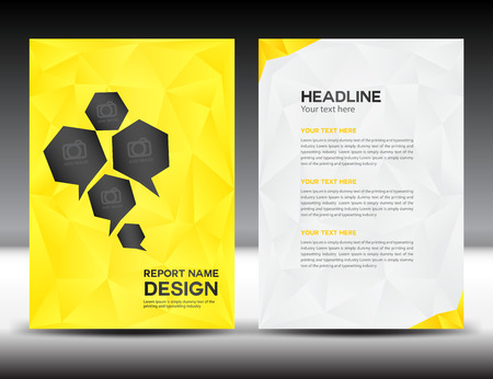 magazine page: yellow Cover Annual report template,polygon background,brochure design,cover template,flyer design,portfolio,yellow background, info-graphics,Front page and back page Illustration