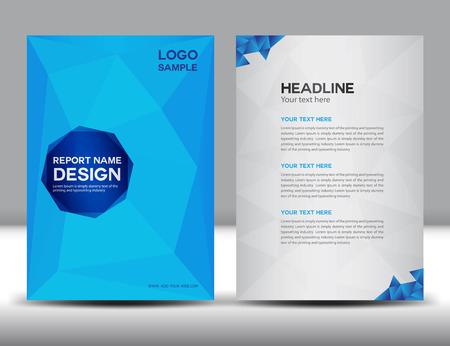 Blue Cover Jaarverslag template, veelhoek achtergrond, brochure design, dekking sjabloon, folders, portfolio, gele achtergrond, info-graphics, voorpagina en achterpagina