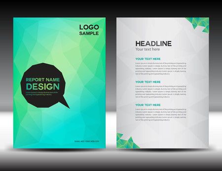 Green Cover Annual report template,polygon background,brochure design,cover template,flyer design,portfolio,yellow background, info-graphics,Front page and back page Vettoriali