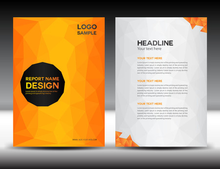 report cover design: Orange Cover Annual report template,polygon background,brochure design,cover template,flyer design,portfolio,yellow background, info-graphics,Front page and back page