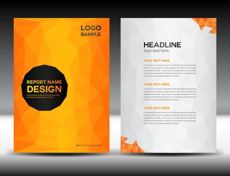 Orange Cover Rapport annuel modèle, polygone fond, conception de la brochure, modèle de couverture, conception flyer, portfolio, fond jaune, info-graphiques, la page avant et page retour