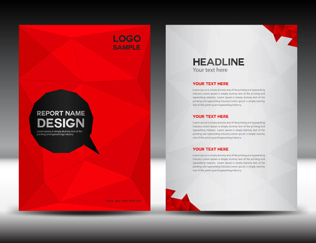 Rote Abdeckung Jahresbericht Vorlage, Polygon Hintergrund, Broschüre Design, Cover-Vorlage, Flyer Design, Portfolio, gelber Hintergrund, Info-Grafiken, Titelseite und Rückseite