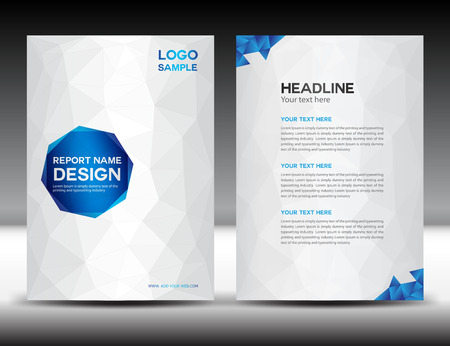 White Cover Annual report template,polygon background,brochure design,cover template,flyer design,portfolio,yellow background, info-graphics,Front page and back page Imagens - 51865299