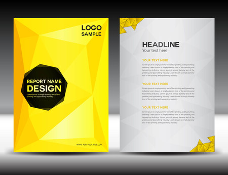yellow Cover Annual report template,polygon background,brochure design,cover template,flyer design,portfolio,yellow background, info-graphics,Front page and back page,gold background Illustration