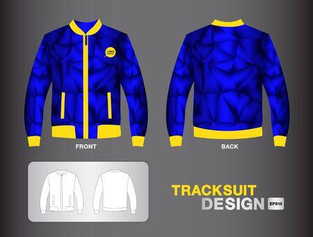 Blauer Trainingsanzug, Design, Illustration Jacke entwerfen einheitliches Design Polygon Hintergrund. Vektorgrafik