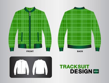 tracksuit: Green plaid tracksuit design illustration,Jacket design,unifrom design,clothing,sport shirt,fashion,fabric,sportware,Plaid shirt Illustration