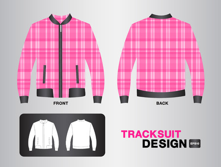 tracksuit: Pink plaid tracksuit design illustration,Jacket design,unifrom design,clothing,sport shirt,fashion,fabric,sportware,Plaid shirt Illustration