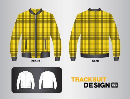 tracksuit: Yellow plaid tracksuit design illustration,Jacket design,unifrom design,clothing,sport shirt,fashion,fabric,sportware,Plaid shirt