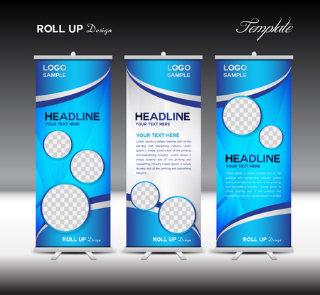 and blue Roll Up Banner template illustration,polygon background,banner design,standy template,roll up display,advertisement,Roll up banner stand design,blue background