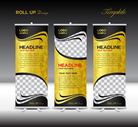 Gold and black Roll Up Banner template illustration,polygon background,banner design,standy template,roll up display,advertisement,Roll up banner stand design,red background
