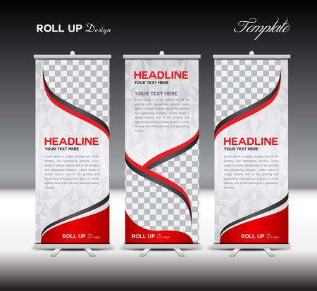 Red Roll Up Banner template illustratie, veelhoek achtergrond, banner ontwerp, standy sjabloon, roll up display, reclame, Roll up banner standontwerp, rode achtergrond