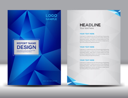 Blue Annual report illustration,cover design, brochure design, template design,graphic design,illustration,report cover, Abstract background,polygon background, cover template,book cover,booklet template Banco de Imagens - 52956513