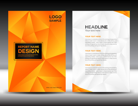 Orange Cover Annual report design illustration,cover design, brochure design, template design,graphic design,illustration,report cover, Abstract background,polygon background, cover template,book cover,booklet template