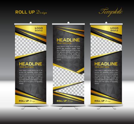 yellow black: Oro y negro del rollo arriba la bandera ilustración plantilla, fondo polígono, diseño de banners, stand plantilla, rollo de pantalla, publicidad, enrollar el diseño standy bandera, de fondo de oro, Impresión Vectores