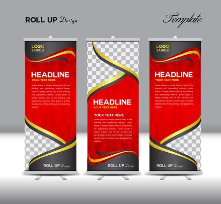 赤ロールアップ バナー テンプレート イラスト、ポリゴン背景、バナー デザイン、スタンバイ側のテンプレートが表示、広告をロールアップ、ロー