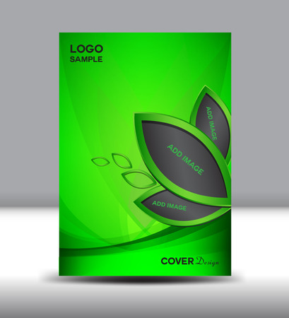 annual report: Green Cover design template,brochure,Cover design illustration,Cover Annual report Layout template,page, magazine, design,company profile, portfolio,booklet,leaves Illustration