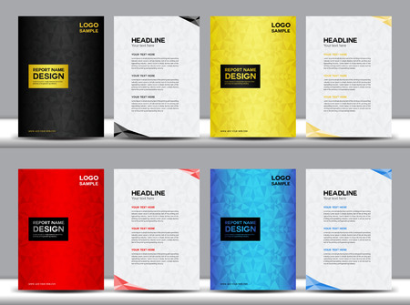 set Cover Annual report design vector illustration,cover design, brochure design, template design,vector illustration,report cover,polygon background, cover template,book cover,booklet template,portfolio,profile Stok Fotoğraf - 52957217