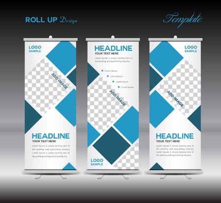 Bleu Roll Up bannière modèle illustration, polygone fond, conception de bannière, modèle, rouler affichage, publicité, Retroussez conception de bannière, fond bleu, Vecteurs