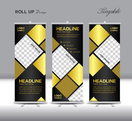 Goud en zwart Roll Up Banner template illustratie, veelhoek achtergrond, banner ontwerp, sjabloon, roll up display, reclame, Roll up banner ontwerp, gouden achtergrond,