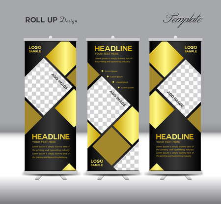 Gold and black Roll Up Banner template illustration,polygon background,banner design, template,roll up display,advertisement,Roll up banner design,gold background,