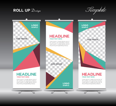 product display: Green and pink Roll Up Banner template illustration,polygon background,banner design,standy template,roll up display,advertisement,Roll up banner stand design,Yellow background,company Illustration