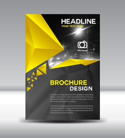 Yellow and black brochure,Cover design, polygon background, magazine, template, leaflet design, presentation template, illustration,Cover Annual report,page,company profile, portfolio,booklet,size A4 Vector Illustration