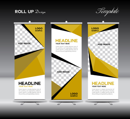 Yellow Roll Up Banner template illustration,polygon background,banner design,standy template,roll up display,advertisement,Roll up banner stand design,Yellow background, company