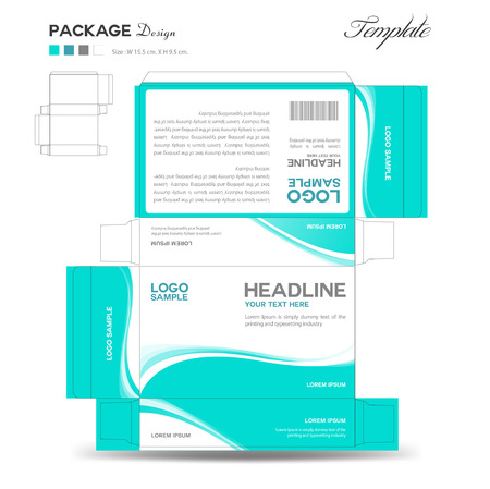Supplements and Cosmetic box design,Package design,template,box outline Ilustração