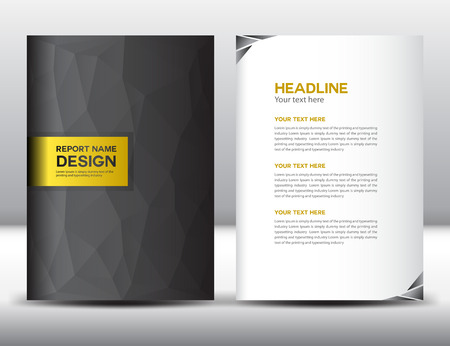 page background: Black Cover Annual report template,polygon background,brochure design,cover template, design,portfolio,yellow background, info-graphics,Front page and back page