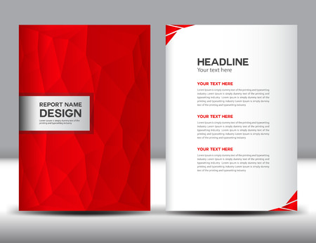 company profile: Red Cover Annual report template,polygon background,brochure design,cover template,design,portfolio,yellow background, info-graphics,Front page and back page