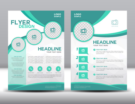 business brochure design layout template in A4 size,green brochure template,cover design,Front page and back page,infographic