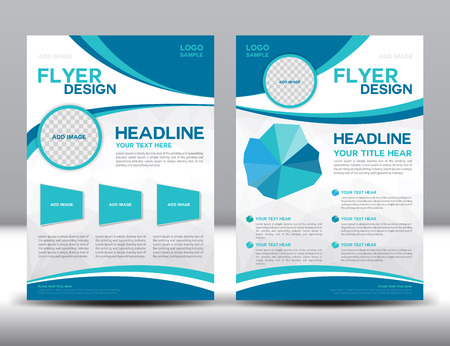 Vector Brochure ontwerp Layout template, Blue brochure sjabloon, omslag ontwerp, Voorpagina en achterkant, infographic Stockfoto - 53298146