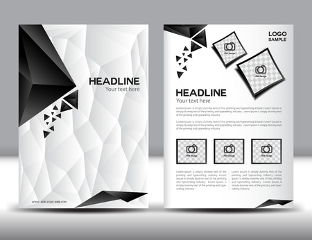 Abstract  modern  brochure design templates with red geometric triangular background,cover design, Annual report, black and white polygon background, cover template,book,leaflet