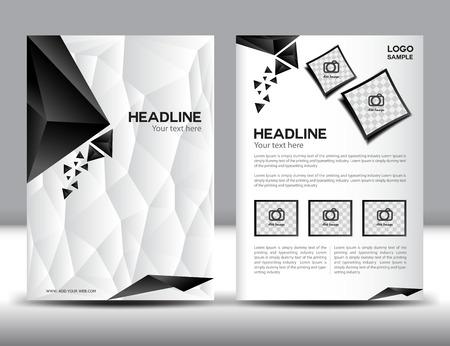 Abstracte moderne brochure ontwerpsjablonen met rode geometrische driehoekige achtergrond, hoesontwerp, jaarverslag, zwart en witte veelhoek achtergrond, cover sjabloon, boek, leaflet