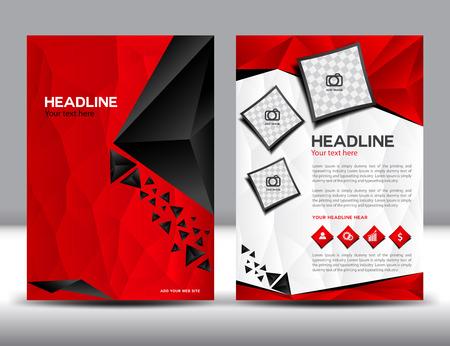 Plantilla roja de negocios folleto diseño de diseño, plantillas de diseño de folletos, diseño de portada, Informe anual, polígono fondo, plantilla, libro, folleto de plantilla