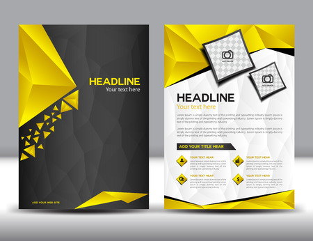 Black and Yellow business brochure  design layout template, brochure design templates,cover design, Annual report, polygon background, cover template,book,leaflet, template Stok Fotoğraf - 53832843
