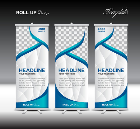 Blue Roll Up Banner template illustration,banner design,standy template,roll up display,polygon background Stock Illustratie