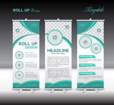 Verde Roll Up Banner illustrazione del modello, design di banner, modello standy, roll up display, pubblicità,, sfondo verde, commercio, educazione, fondo poligono