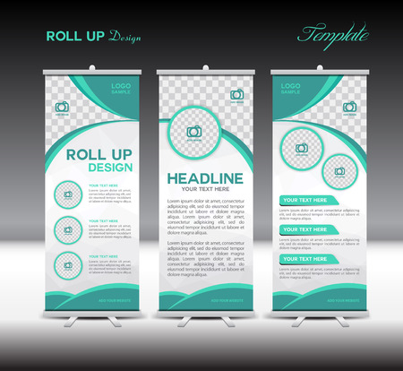 Green Roll Up Banner template illustration,banner design,standy template,roll up display,advertisement, ,green background,business, education,polygon background Illustration