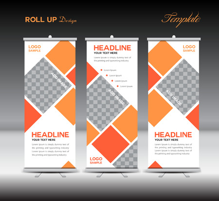 Orange Roll Up Banner template illustration,banner design,standy template,roll up display,advertisement,Orange background,business, education,polygon background Imagens - 53967797