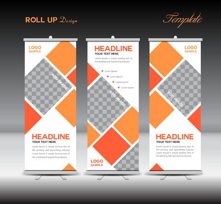 Oranje Roll Up Banner template illustratie, banner ontwerp, standy sjabloon, roll up display, reclame, oranje achtergrond, het bedrijfsleven, onderwijs, veelhoek achtergrond Stockfoto - 53967797
