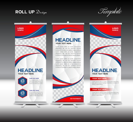 Rood en blauw Roll Up Banner template illustratie, banner ontwerp, sjabloon, roll up display, reclame,, rode achtergrond, het bedrijfsleven, onderwijs, veelhoek achtergrond Stockfoto - 53967800