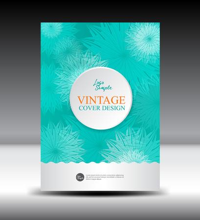 Green flower Vintage Cover design template,illustration,Vintage Cover, Annual report, brochure ,Catalog, leaflet,book,booklet, notebook,card,wedding,cosmetics,flower, Floral background