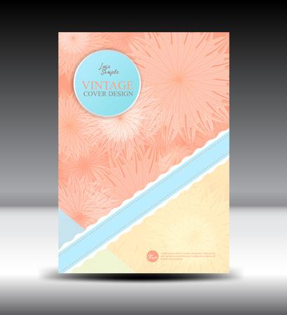 notebook design: Orange flower Vintage Cover design template,illustration,Vintage Cover, Annual report,  brochure ,Catalog, leaflet,book,booklet, notebook,card,wedding,cosmetics,flower, Floral  background